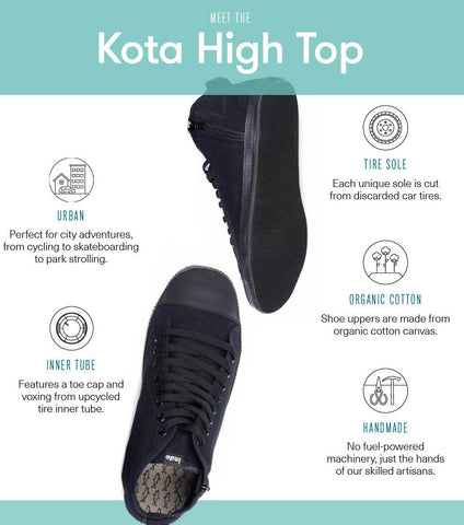 Kota High Top with repurposed tire soles