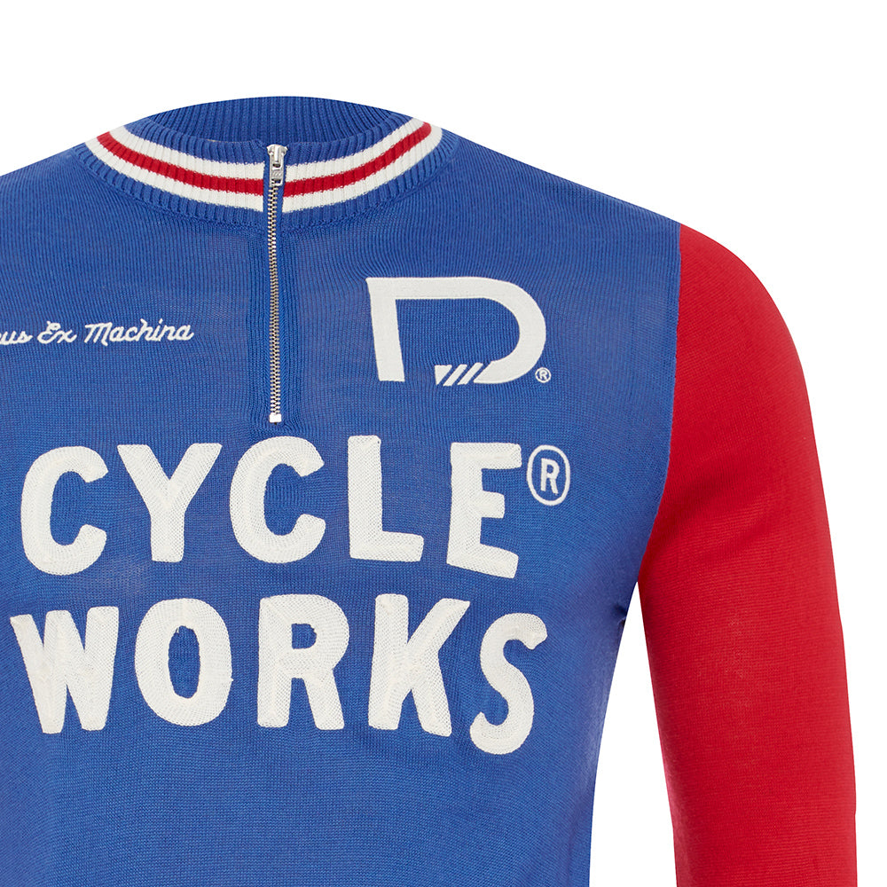 Early Bird Merino Jersey - Blue/Red