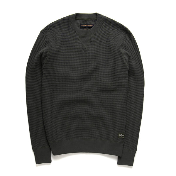 Waffle Knit Crew - Forest Green