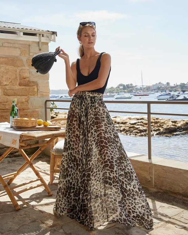 Al Fresco Circle Skirt Leopard Silk Chiffon