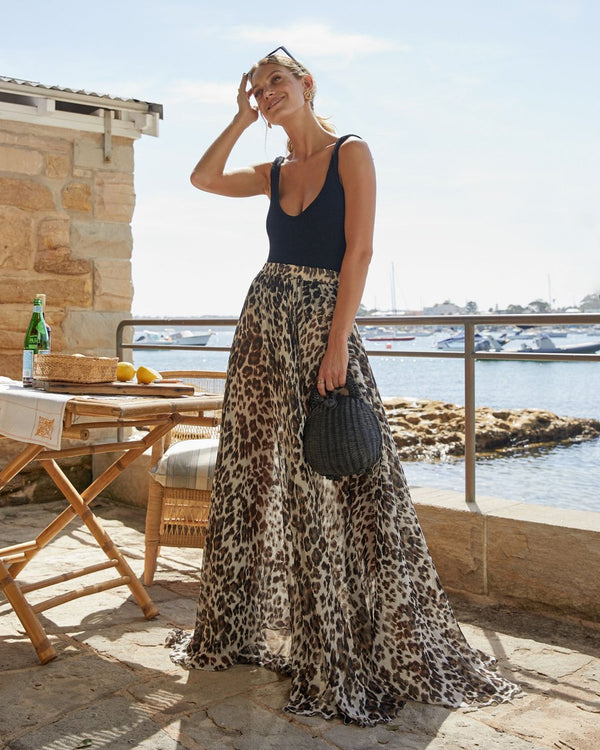 Al Fresco Circle Skirt Leopard Silk Chiffon 3