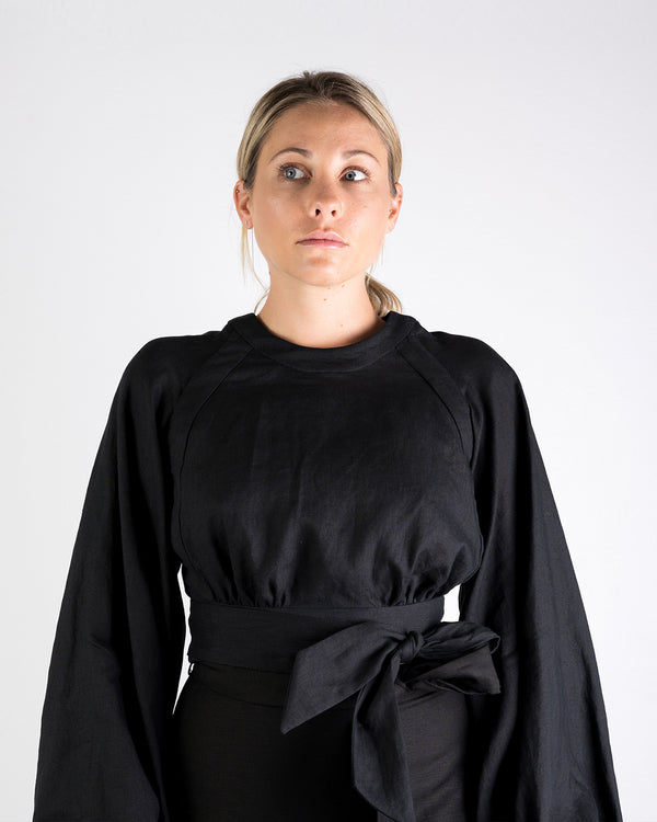 01.01 Balloon Sleeve Black Linen Wrap Top