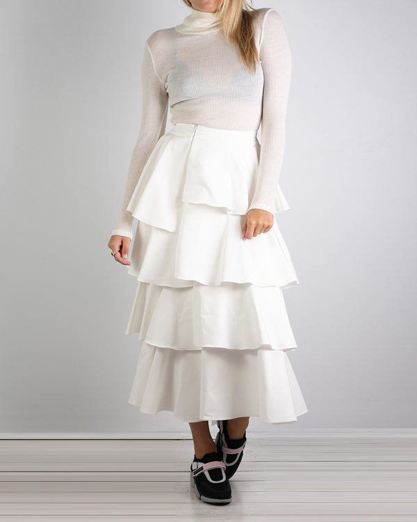 Asymmetrical Ivory Silk Cotton Frill Skirt