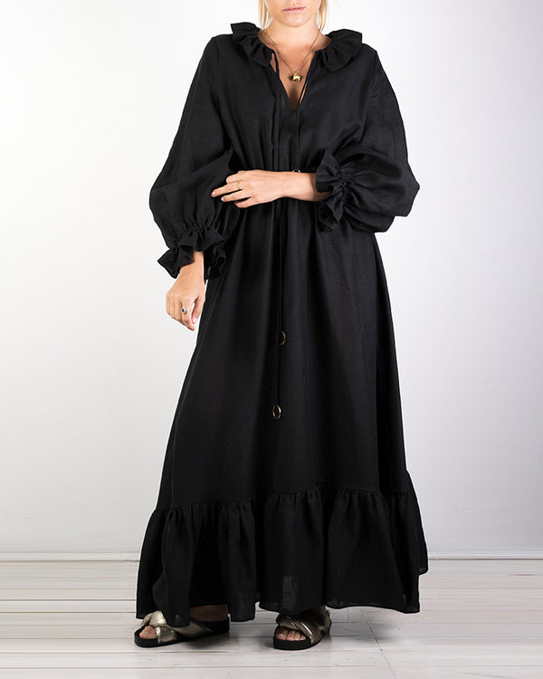01.02 Mougins Black Tencel Ruffle Dress