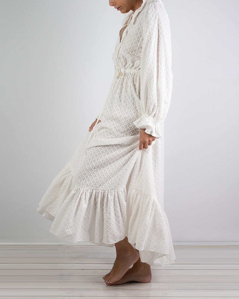 Mougins White Cotton Ruffle Dress