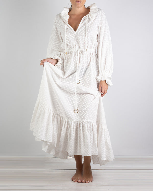 01.03 Mougins White Cotton Ruffle Dress