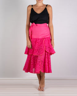 01.04 Onassis 2 Frill Pink Lace Frill Skirt
