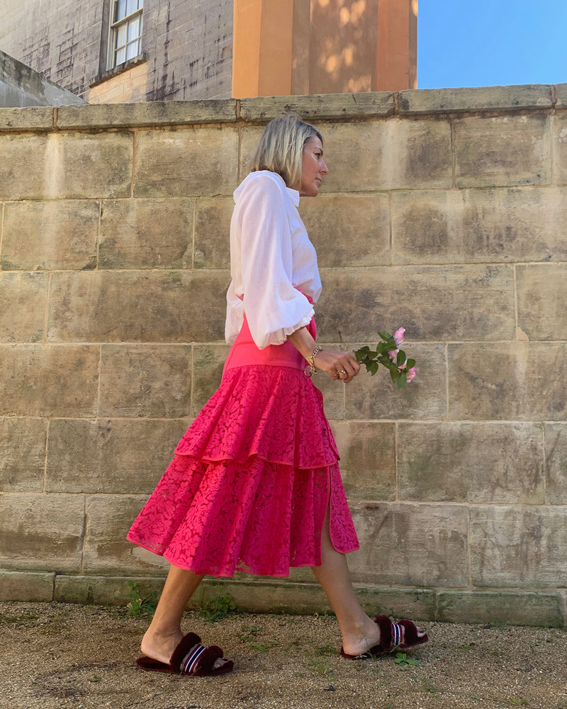 Onassis 2 Frill Pink Lace Frill Skirt