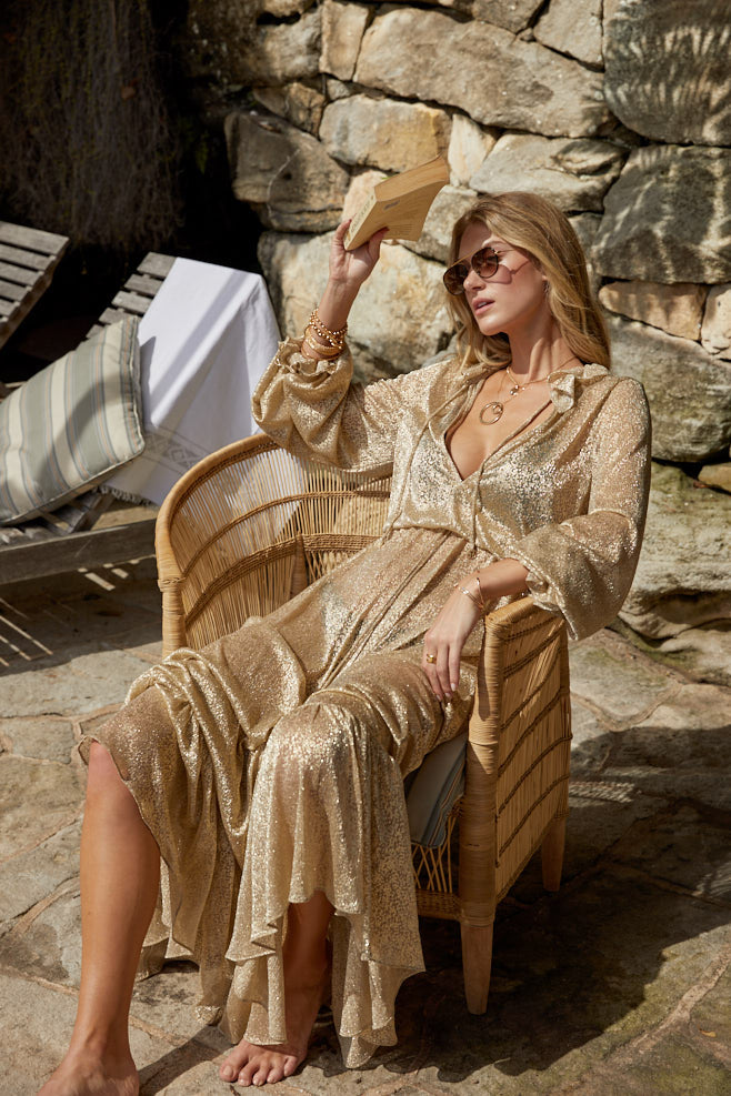 04.06 Mougins Ruffle Dress Gold