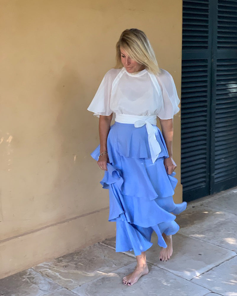02.06 Asymmetrical Blue Linen Skirt