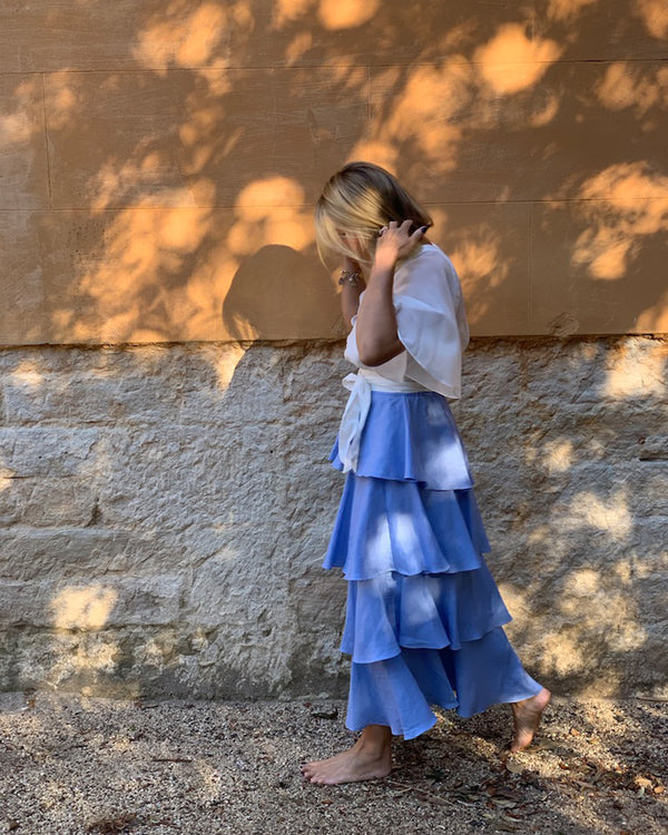 Asymmetrical Blue Linen Skirt