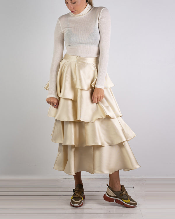 03.05 Asymmetrical Gold Silk Twill Skirt