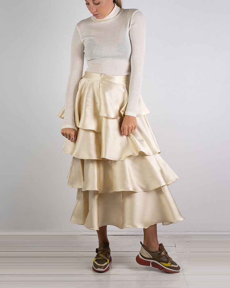 Asymmetrical Gold Silk Twill Skirt