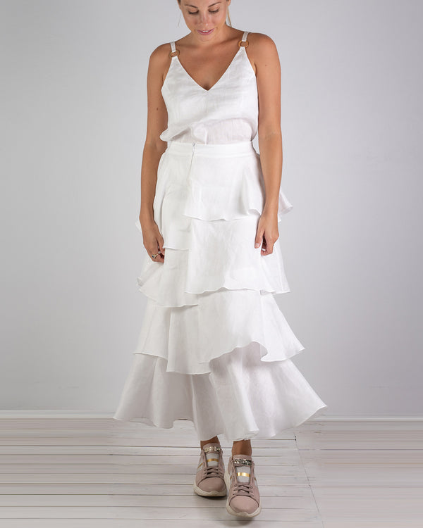 04.01 Asymmetrical White Linen Skirt