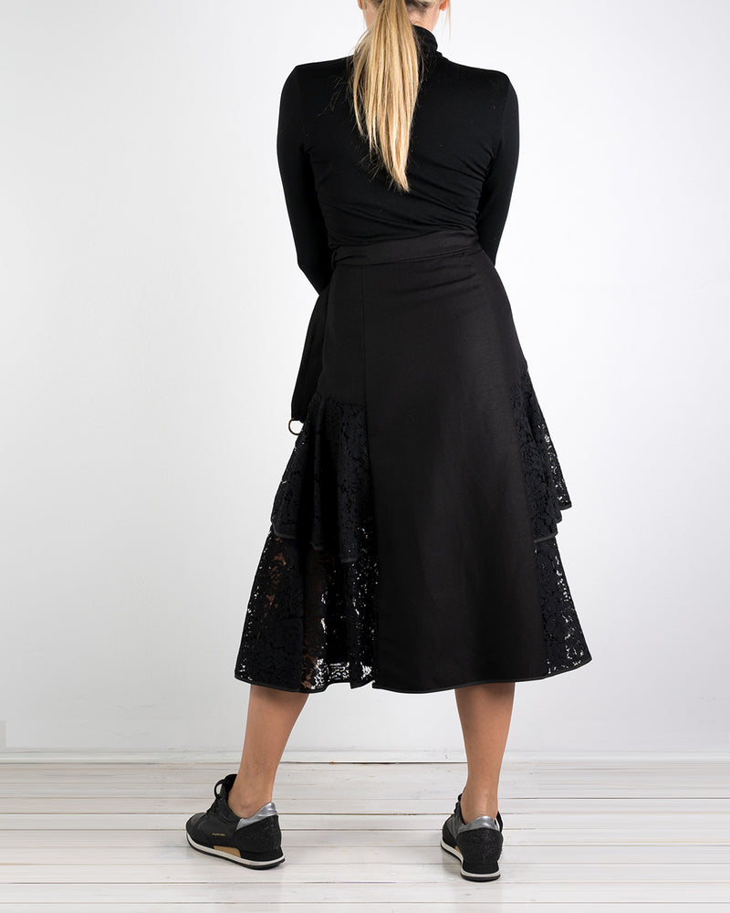 01.05 Onassis 2 Frill Black Lace Skirt