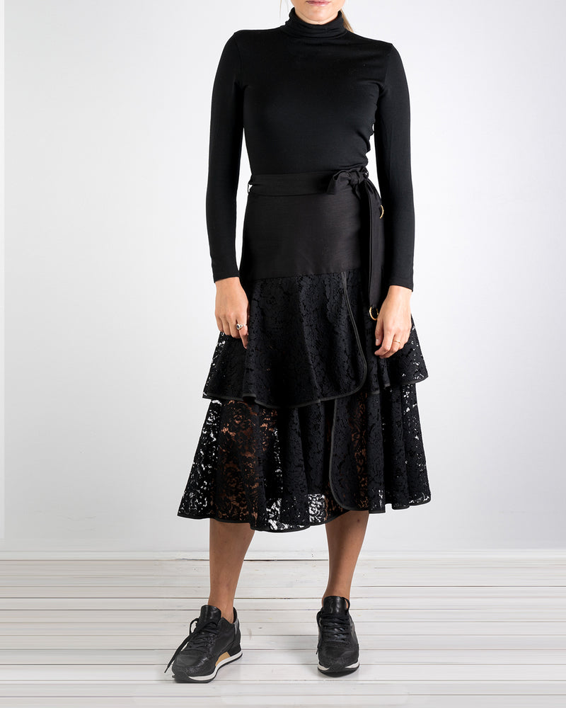 Onassis 2 Frill Black Lace Skirt