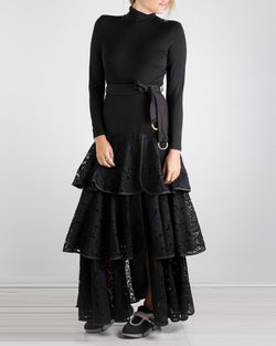 07.00 Onasiss 3 Frill Black Lace Skirt