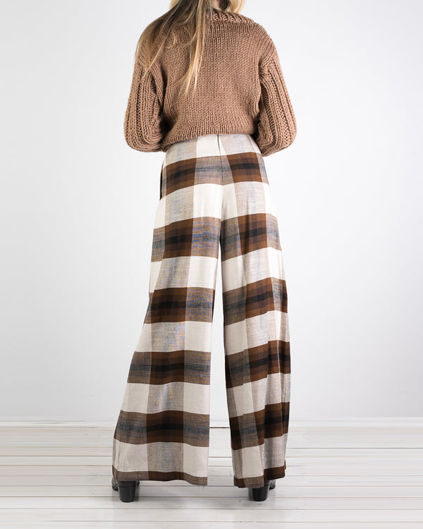 07.01 Riviera Wide Leg Chocolate Plaid Pant