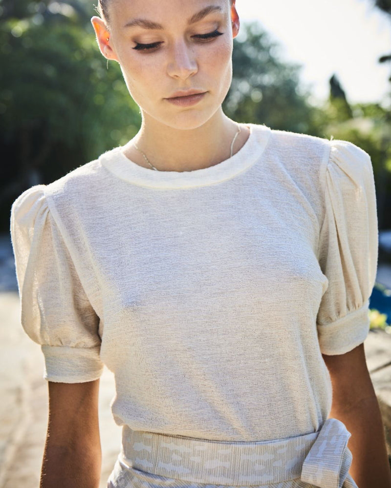 Como Puff Sleeve T-Shirt Ivory