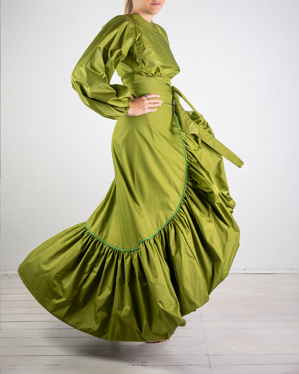 08.02 La Scala Green Taffeta Wrap Skirt