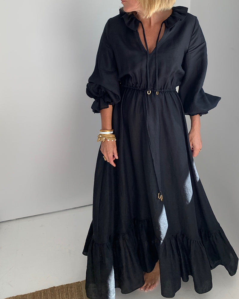 02.03 Mougins Black Linen Ruffle Dress