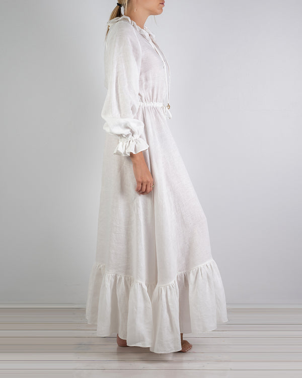 Mougins White Linen Ruffle Dress