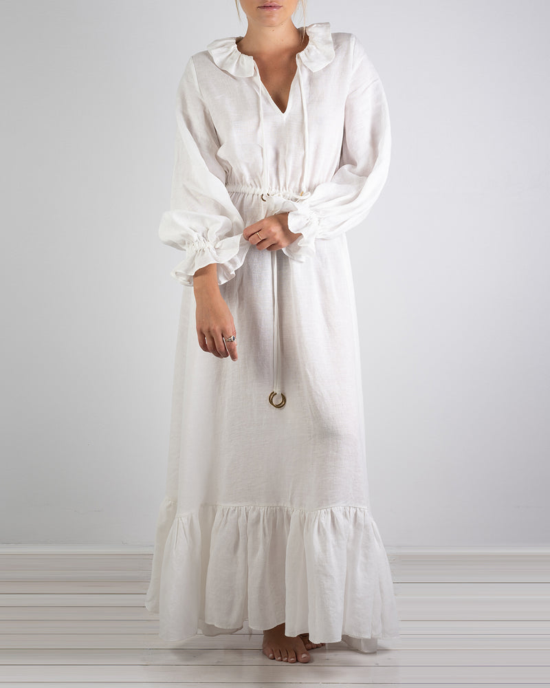 02.01 Mougins White Linen Ruffle Dress