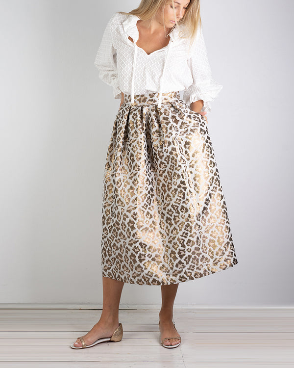 04.04 Paloma Pleated Metallic Leopard Skirt
