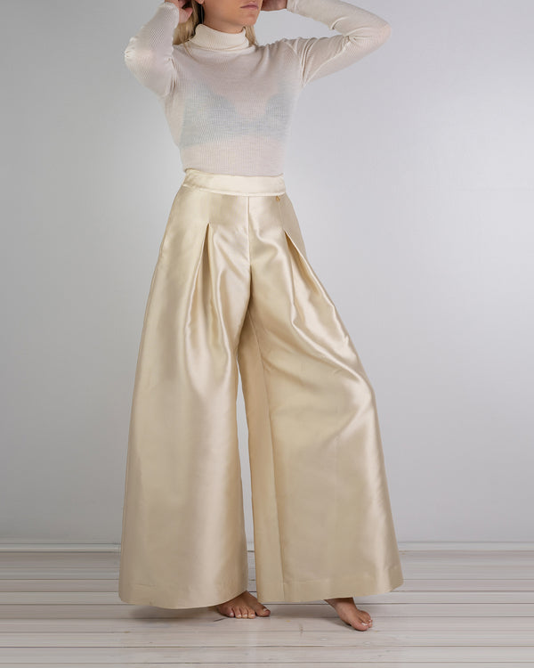 06.01 Riviera Wide Leg Gold Silk Pant