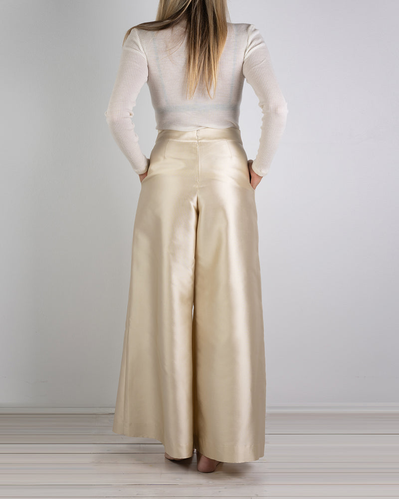 Riviera Wide Leg Gold Silk Pant