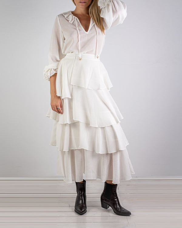 Asymmetrical White Muslin Frill Skirt