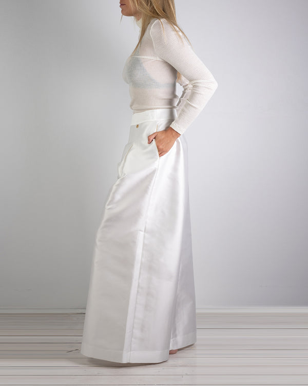 06.01 Riviera Wide Leg White Silk Pant