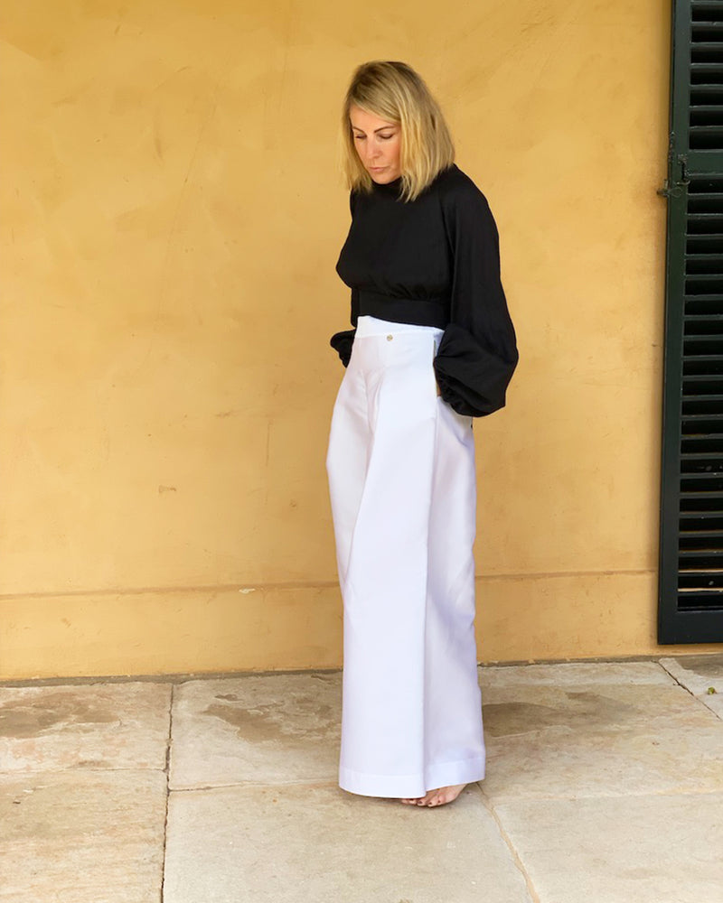 Riviera Wide Leg White Silk Pant