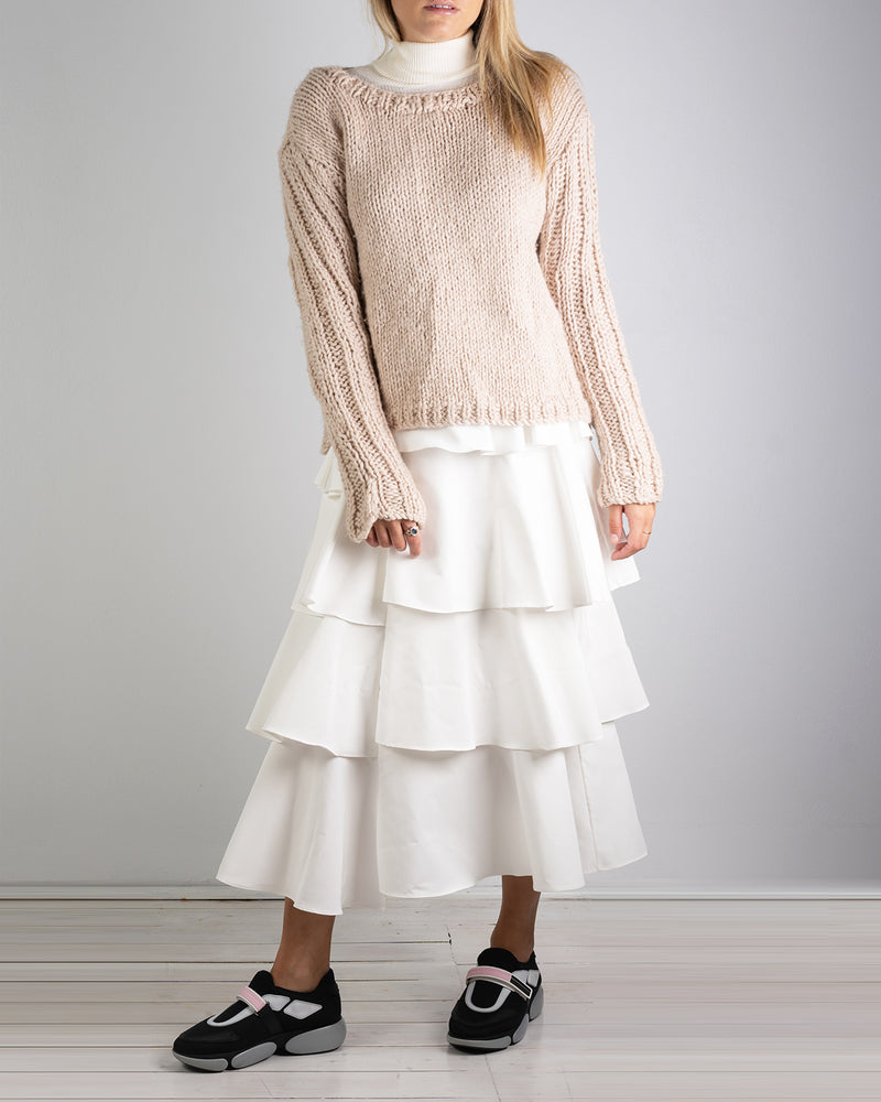 Asymmetrical White Linen Skirt