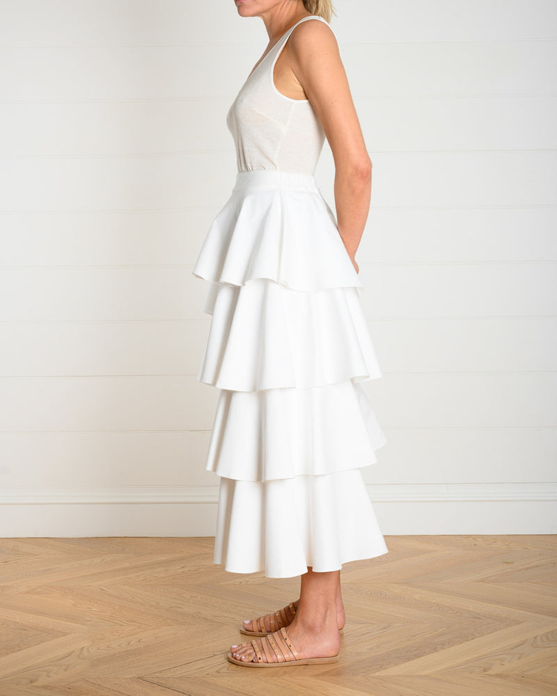 Asymmetrical Frill Skirt White Denim
