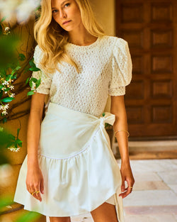 Como Puff Sleeve T-Shirt White Sequin