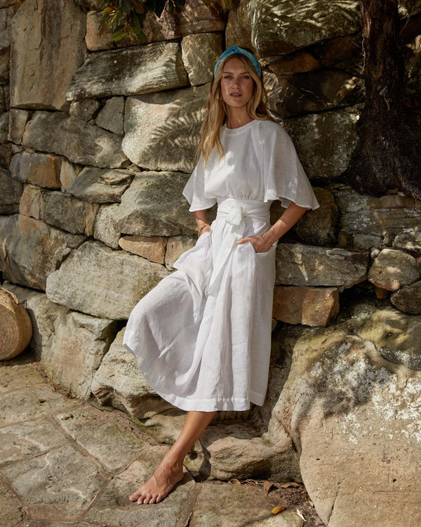 Paloma Pleated Linen Skirt