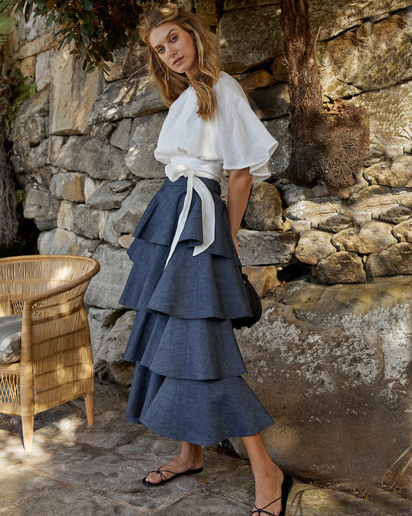 Asymmetrical Denim Frill Skirt