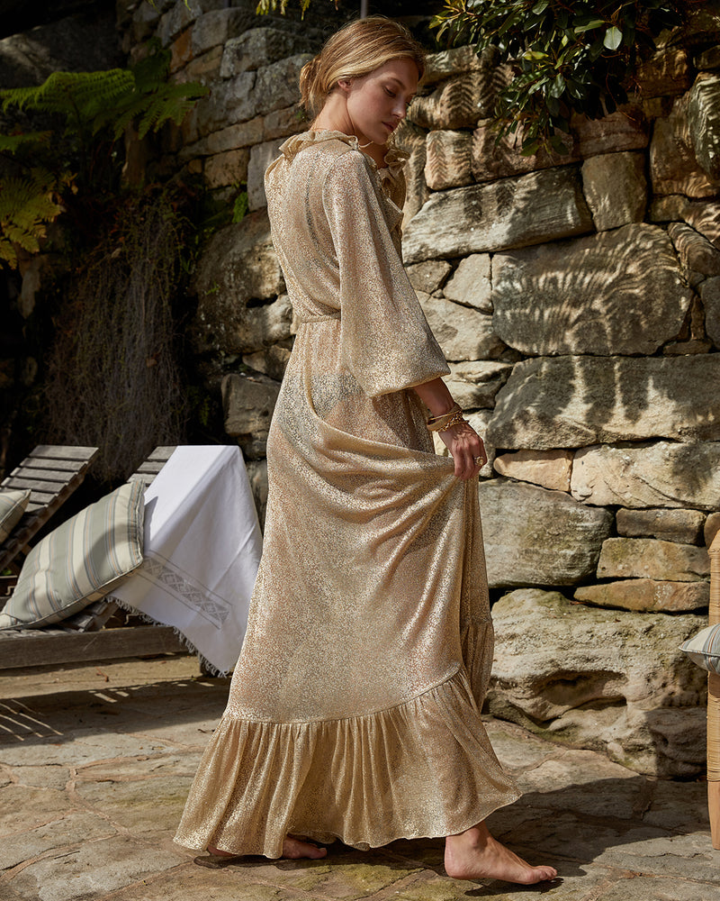 Mougins Ruffle Dress Gold