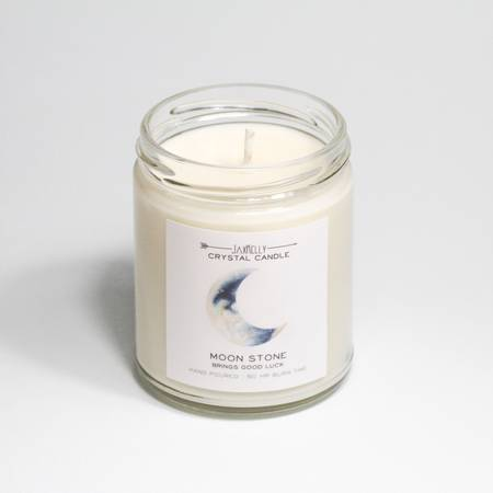 Moonstone Crystal Candle - Good Fortune
