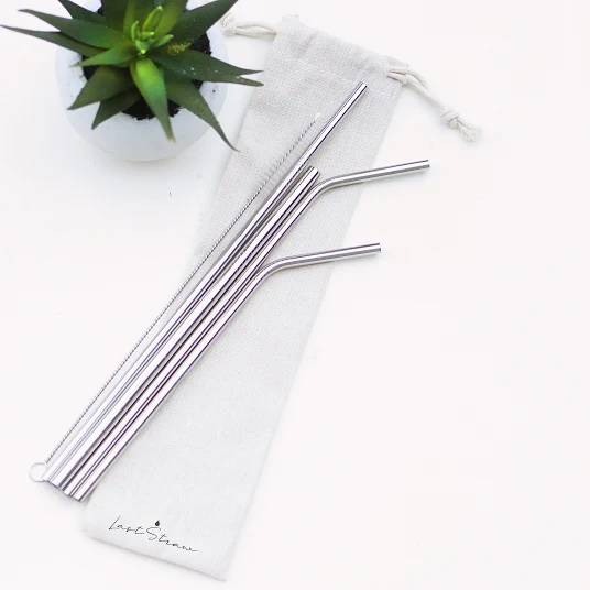 Reusable Stainless Steel Straw Set and Linen Pouch
