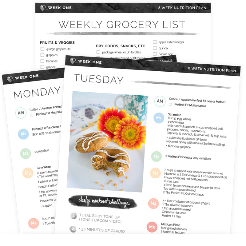 tone it up grocery list and meal plans