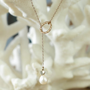 Gold Pearl Drop Necklace - Tone It Up - 2