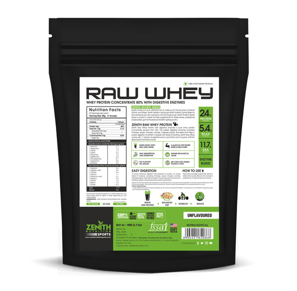 Zenith Nutrition Raw Whey Protein 80% | USA Made | with Digestive Enzymes (Unflavoured) 1 KG