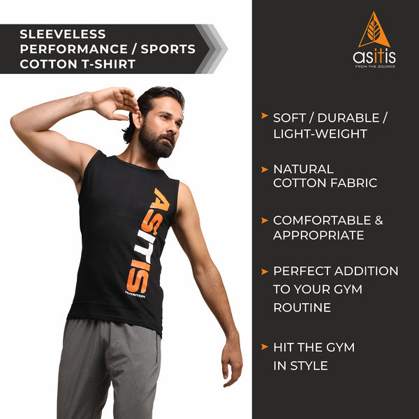 AS-IT-IS Nutrition Sleeveless Performance/Sports Cotton T-Shirt