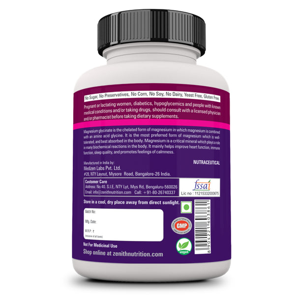 High Absorption Chelated Magnesium Glycinate 60 Vegetarian capsules | Supports Bone Health | Nerve & Muscle Function
