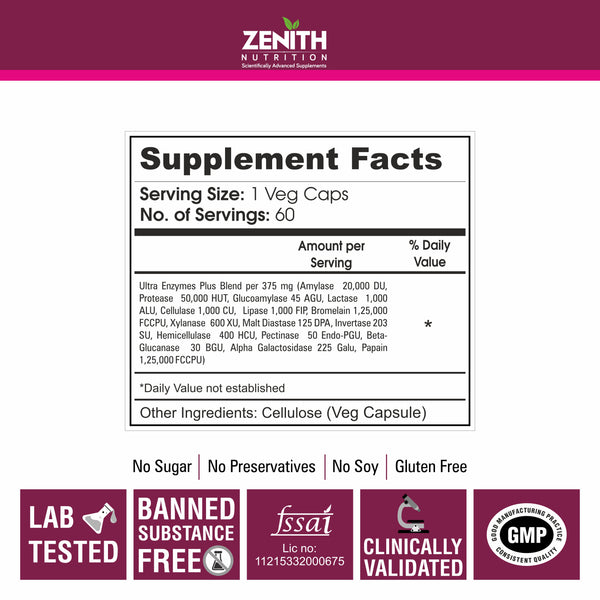 Zenith Nutrition Ultra Enzymes Plus – 60 Veg caps