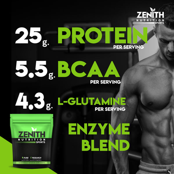 Zenith Nutrition Whey Protein with Enzymes for Digestion | 26g protein | Natural Sweetener (Kesar Kulfi )