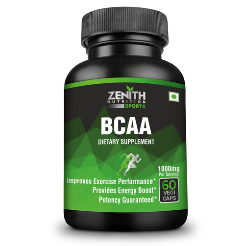 Zenith Sports BCAA 1000mg per serving of 2 capsules | Improves Athletic Performance- 60 Capsules