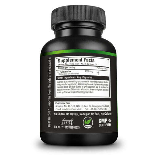 Zenith Sports L-Glutamine 1000mg per serving of 2 capsules | Increases Exercise Performance | Supports Muscle Mass | 60